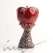 """Aromatinė sojų vaško žvakė - """"Rožė raudono vyno taurėje"""""""