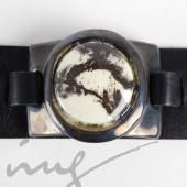 Odinė juoda apyrankė su marmurine keramika