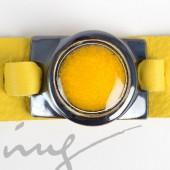 Odinė geltona apyrankė su geltona keramika