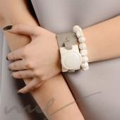Rankų darbo keramikiniai karoliukai - balta blizganti, 1,2mm skylute