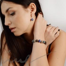 Apyrankė iš keramikos karoliukų - mėlyna, žydra, pilka, juoda
