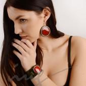 Apvalūs labai dideli raudoni auskarai