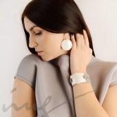 Apvalūs dideli balti auskarai