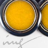 Apvalūs dideli geltoni išskirtiniai auskarai