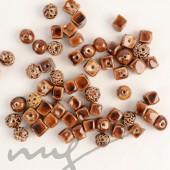 Rankų darbo keramikiniai karoliukai - ruda, 1,2mm skylute