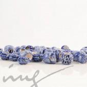Rankų darbo keramikiniai karoliukai - tamsiai mėlyna, 5 mm skylute