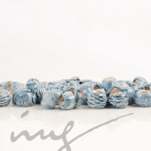 Rankų darbo keramikiniai karoliukai - žydra, 5 mm skylute